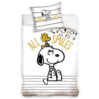 Snoopy Single Katoenen Dekbedovertrek Set - Europese Maat