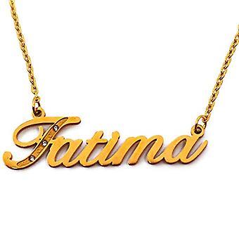 Kigu Fatima - Anpassningsbart namnhalsband med guldpläterade stenar