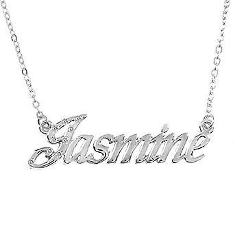 KL Kigu Jasmine, halskæde med navn, belagt med 18 karat hvidguld, kan tilpasses med navn, moderigtigt juvel, gave til Ref. 4963303142975