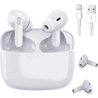 Słuchawki Bluetooth, bezprzewodowe słuchawki 3D Hi-FI Stereo Sound Wireless, 24-godzinny czas pracy na baterii z etui do ładowania, sterowanie dotykowe, automatyczne parowanie, bezprzewodowe słuchawki dla iPhone' a / Android / Airpods Pro (biały)