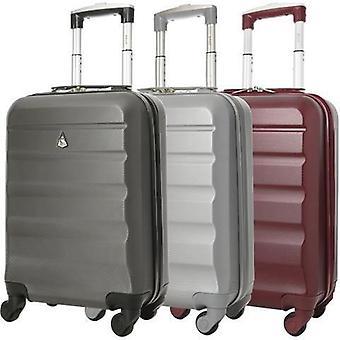 Aerolite (55x35x20cm) bagage à main léger en coque dure (argent et vin et ensemble de charbon de bois)