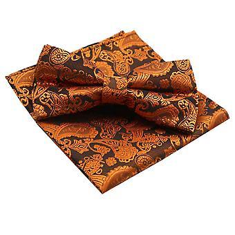 Burnt orange paisley bow tie & pocket square set