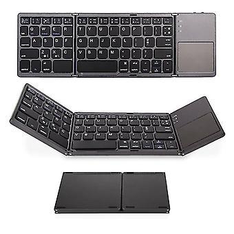 Black three-fold mini bluetooth keyboard wireless aluminum alloy keyboard with mouse touchpad cai749