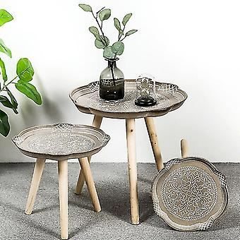 Wood Sofa Side Low Round Coffee Table Tray Storage Table Tea Fruit Snack Service Plate Tray Bed