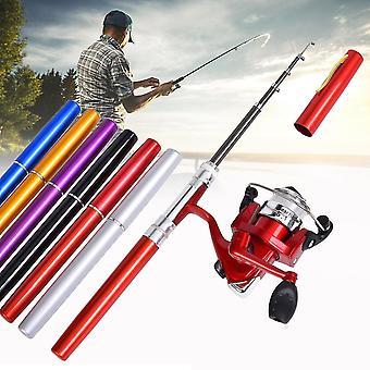 LEO Mini Fishing Rod Reel Combo Fibre Glass Aluminum Fishing Reel 5.1:1 Portable Hunting Fishing Too