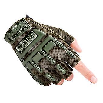 ספורט בחוץ טיפוס כפפות כושר חצי אצבע רכיבה טקטית כפפות מגן(ירוק)