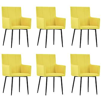 vidaXL dining chairs with armrests 6 pcs. yellow fabric