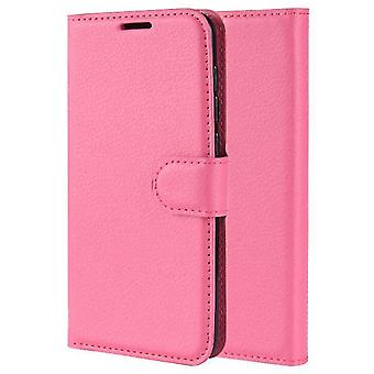 Shockproof Durable Leather Shell Case for Nokia 6 2018 - Dark Pink