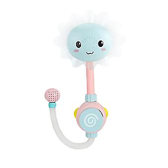 Baby Bath Toys Water Game Sun Flower Faucet Electric Shower(Blue)