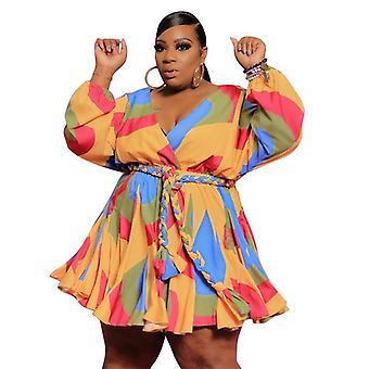 Duży rozmiar drukowany dekolt w serek seksowna sukienka krótka tkana duża spódnica swingowa z paskiem