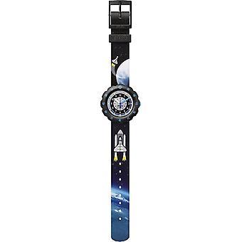 Flik Flak Fpsp057 Moon And Back Grey Textile Watch