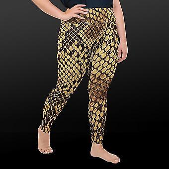 Slangeprint leggings med plusstørrelse