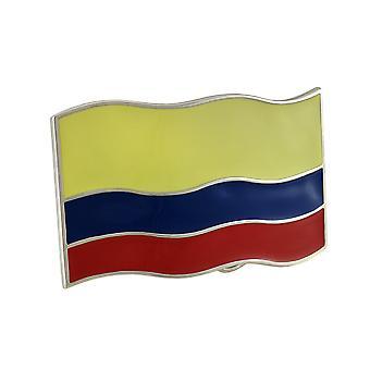 Bandeira colombiana Chrome / esmalte Columbia de fivela de cinto