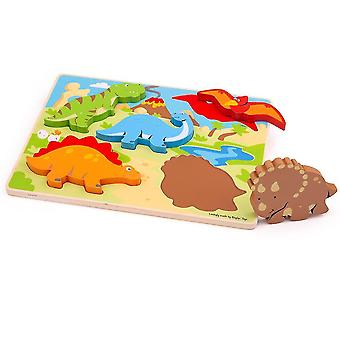 Wooden pegged puzzles chunky lift out dinosaur puzzle