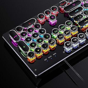 Numeric keypads qwert 104 keys mechanical keyboard round retro keycap gaming keyboard rgb backlit keyboard for pc