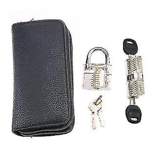 Locks latches 24pcs goso blue locksmith lock tool with transparent locks practice set hand tool pick tool hardware