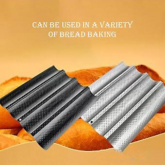Non-stick French Bread Pans Loaf Baking Pan With Four Slots Wave Baguette Mold