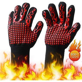 Bbq rukavice, teplé rukavice, zimní rukavice, zahradnické rukavice, venkovní rukavice, vysoká teplota, opařené a ohnivzdorné bavlněné rukavice, červená