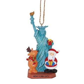 Santa and Reindeer At New York Statute of Liberty Christmas Holiday Ornament