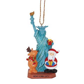 Santa en rendieren op New York statuut van Liberty kerst Vakantiewoningen Ornament