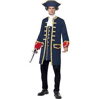 Kalóz parancsnok jelmez egységes férfi kék arany