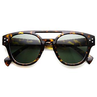 La moda retro llanta doble puente de cuernos planos aviador gafas de sol