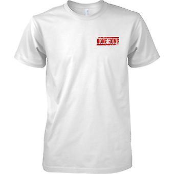 Hong Kong Grunge Land Name Flag Effect - Kinder-Brust-Design-T-Shirt