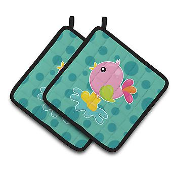 Carolines Treasures  BB7103PTHD Bird in Rainboots and Puddle Pair of Pot Holders