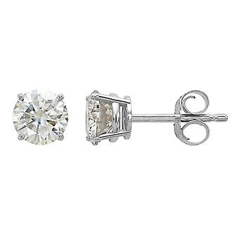 Synthetic Moissanite Solitaire Earrings 0.88 Carat (ctw) 5.0mm in 14K White Gold (1 Carat Diamond Look)