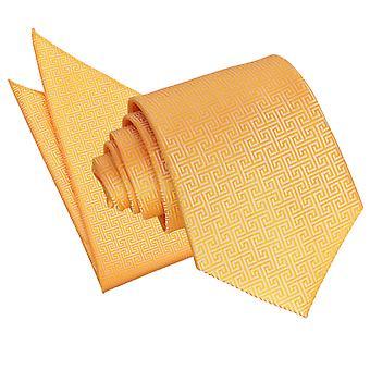 Marigold Greek Key Tie & Pocket Square Set