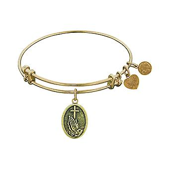 Stipple Finish Brass Faith Angelica Bangle Bracelet, 7.25