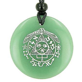 Succès au travail richesse Talisman du soleil vert Aventurine cercle magique bonne chance pendentif