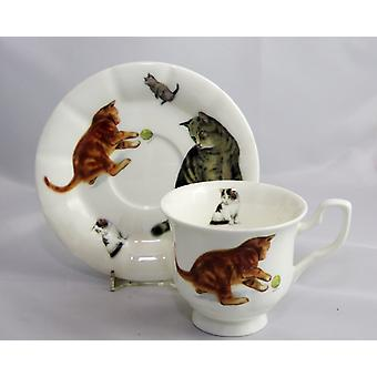 English Bone China Teacup and Saucer Cats