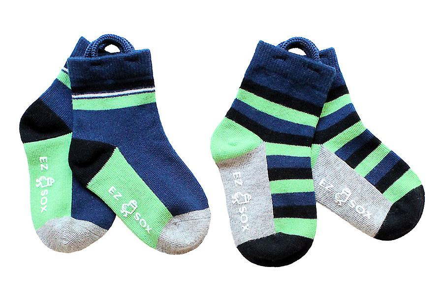 Garçons Solids & Stripes EZ SOX Chaussettes - 2 paires, 2 - 3 ans