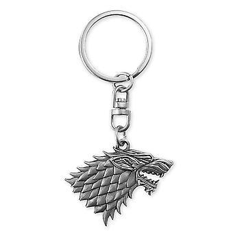 Game of Thrones Schlüsselanhänger Wappen Stark Schlüsselanhänger, silberfarben, schwere Ausführung aus Metall.