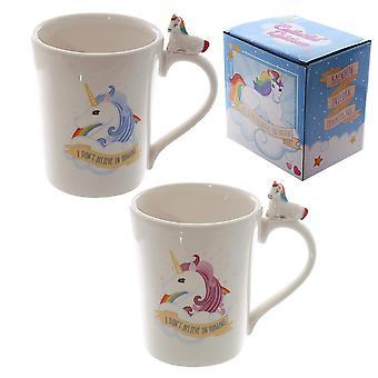 Einhorn of Cup 2 kpl setti et usko IN ihminen tiedä, painatettu monivärinen keramiikka, lahjapakkauksessa.