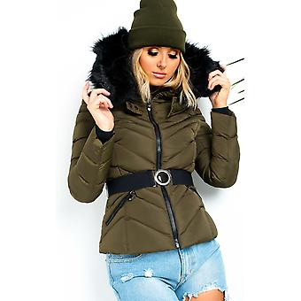 IKRUSH Womens Lina Padded Faux Fur Hood Belted Jacket