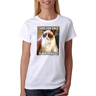 Chagrijnig Cat Fun zodra vreselijke vrouwen witte T-shirt