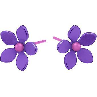 Ti2 Titanium 13mm Five Petal Stud Earrings - Imperial Purple