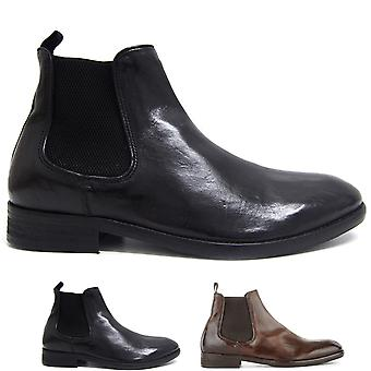 Mens H By Hudson Kirchner Leather Winter Elastic Work Office Ankle Boot