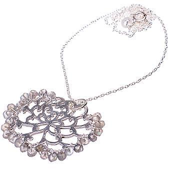 "Labradorite 925 Sterling Silver Necklace 21""  - Handmade Boho Vintage Jewelry NEC11836"