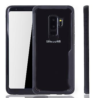 Musta premium Samsung Galaxy S9 plus versio kattaa. Tukee Langaton lataaminen | hieno akryyli pehmeä silikoni rengas musta