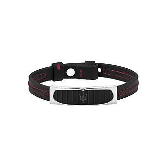 MASERATI - bracelet - men's-PRESTIGE steel black PVD leather - JM417AKV05