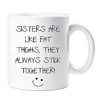 Schwestern sind wie Oberschenkeln Fett sie immer zusammenhalten Mug
