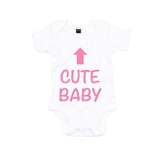 Cute Baby White with Pink Short Sleeve Bodysuit Baby Grow