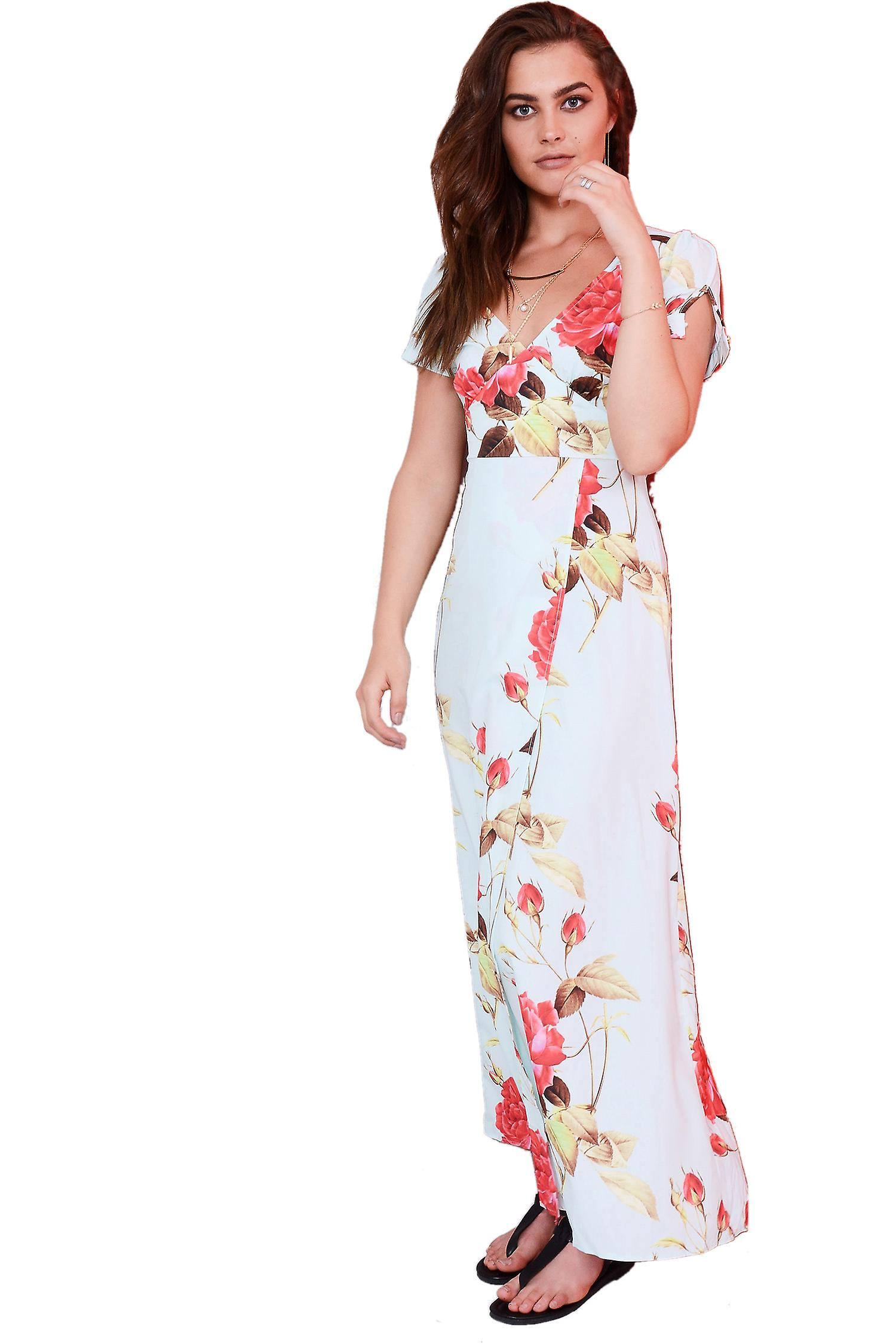 Lovemystyle Maxi Dress With Floral Print In Mint Green