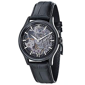 Thomas Earnhshaw Bauer Shadow ES-8061-05 mechanical wrist watch black skeleton dial and black leather band