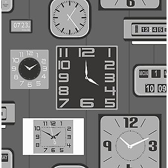 Clocks Wallpaper Luxury Heavyweight Paste The Paper Grey Black Metallic Silver