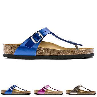 Womens Birkenstock Gizeh Metallic Birko-Flor Toe Post Beach spänne Sandal