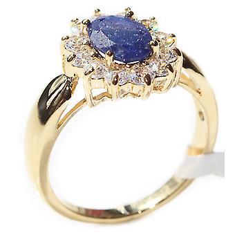 Ah! Korut Precious Sapphire jalokivet rengas kulta täytetty leimattu GL
